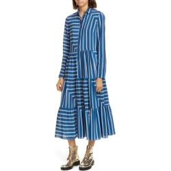 Women's Akris Punto Square Stripe Print Silk Long Sleeve Maxi Dress, Size 16 - Blue found on MODAPINS from Nordstrom for USD $954.00