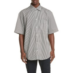 Men's Balenciaga Normal Fit Stripe Short Sleeve Button-Up Shirt, Size 41 EU - Black found on MODAPINS from Nordstrom for USD $650.00