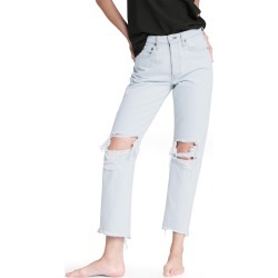Women's Rag & Bone Maya Ripped High Waist Raw Hem Ankle Jeans, Size 27 - Grey found on Bargain Bro from Nordstrom for USD $171.00