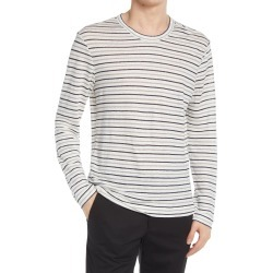 Men's Club Monaco Slim Fit Stripe Long Sleeve Linen T-Shirt, Size Small - Blue found on Bargain Bro from Nordstrom for USD $68.02