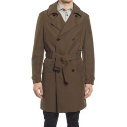 Men's Ted Baker London Turtle Double Breasted Belted Trench Coat, Size 7 - Green found on Bargain Bro from Nordstrom for USD $371.64