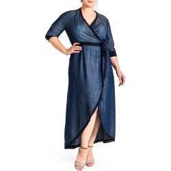 Plus Size Women's Standards & Practices Elle Wrap Maxi Dress