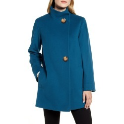 Women's Fleurette Stand Collar Wool Car Coat, Size 12 - Blue