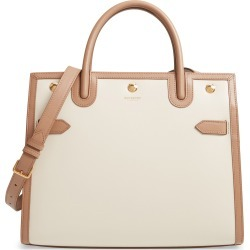 Burberry Medium Title Double Handle Leather Bag - Ivory