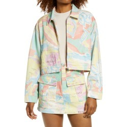 Women's Melody Ehsani Map Print Cotton Twill Jacket, Size Large - Yellow found on Bargain Bro from Nordstrom for USD $83.60