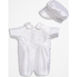 Infant Boy's Little Things Mean A Lot Dupioni Romper, Size 12M - White found on Bargain Bro Philippines from Nordstrom for $167.00