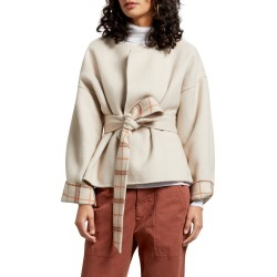 Women's Michael Stars Laura Portola Double Face Wool Blend Jacket, Size Large - Beige found on Bargain Bro India from Nordstrom for $298.00
