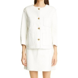 Women's St. John Collection Leather & Tweed Bonded Jacket, Size 6 - White found on Bargain Bro Philippines from Nordstrom for $958.50