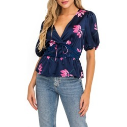 Women's All In Favor Lace Trim Floral Satin Top, Size X-Small - Blue