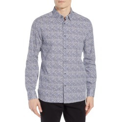 Men's Ted Baker London Celnor Trim Fit Print Sport Shirt, Size 5 - White found on Bargain Bro from Nordstrom for USD $117.80