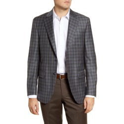 Men's Big & Tall Peter Millar Flynn Classic Fit Plaid Wool Sport Coat, Size 52R - Grey