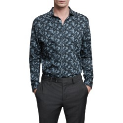 Men's John Varvatos Ross Slim Fit Button-Up Sport Shirt, Size Small - Blue found on MODAPINS from Nordstrom for USD $188.00