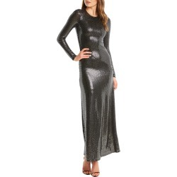 Women's Bardot Mirror Sequin Long Sleeve Gown, Size Large - Metallic