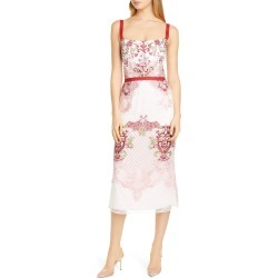 Women's Marchesa Notte Embroidered Pencil Dress, Size 6 - Pink found on MODAPINS from Nordstrom for USD $357.00