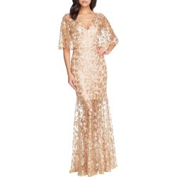 Women's Dress The Population Lourdes Sequin Lace Cape Sleeve Gown, Size Large - Metallic
