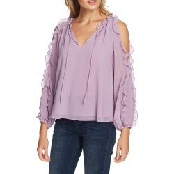 Women's 1.state Ruffle Cold Shoulder Top, Size X-Small - Purple found on MODAPINS from Nordstrom for USD $44.50