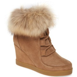 Women's Cecelia New York Holly Wedge Bootie With Genuine Fox Fur Trim, Size 9.5 M - Brown found on Bargain Bro Philippines from Nordstrom for $244.95