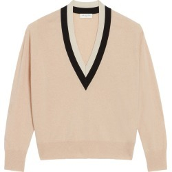 Women's Sandro Deep V-Neck Wool & Cashmere Blend Sweater, Size 0 - Beige found on Bargain Bro from Nordstrom for USD $224.20