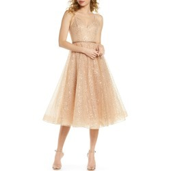 Women's Bronx And Banco Cindy Sequin Fit & Flare Cocktail Dress, Size X-Large - Beige