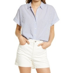 Women's Madewell Women's Hilltop Gingham Check Seersucker Shirt, Size XX-Large - Purple found on Bargain Bro India from Nordstrom for $79.50