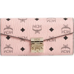 Women's Mcm Large Patricia Visetos Canvas Wallet On A Chain - Pink