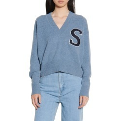 Women's Sandro V-Neck Crop Wool Sweater, Size 3 - Blue found on Bargain Bro from Nordstrom for USD $201.40