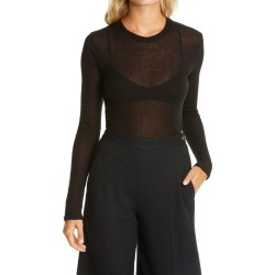 Women's Vince Rib Crewneck Shirt, Size Large - Black found on Bargain Bro India from Nordstrom for $145.00
