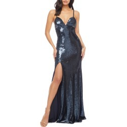 Women's Dress The Population Alejandra Slit Sequin Gown, Size Large - Blue