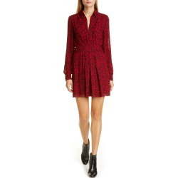 Women's Saint Laurent Leopard Print Long Sleeve Minidress, Size 12 US / 44 FR - Red found on Bargain Bro Philippines from Nordstrom for $2190.00