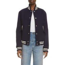 Women's Saint Laurent Teddy Logo Patch Wool Blend Bomber Jacket, Size 4 US - Black found on Bargain Bro India from Nordstrom for $2690.00