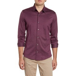 Men's Nordstrom Men's Shop Regular Fit Jacquard Button-Up Knit Shirt, Size X-Large - Burgundy found on Bargain Bro Philippines from Nordstrom for $34.75