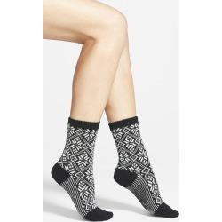 Women's Smartwool Snowflake Pattern Crew Socks, Size Medium - Black