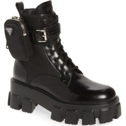 Women's Prada Monolith Mini Bag Lug Sole Combat Boot, Size 10.5US - Black found on MODAPINS from Nordstrom for USD $1390.00