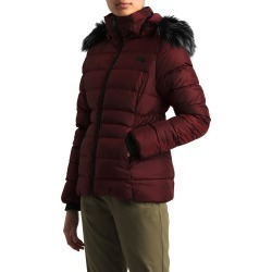 Women's The North Face Gotham Ii Hooded Water Resistant 550-Fill-Power Down Jacket With Faux Fur Trim, Size Small - Red