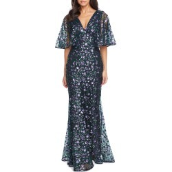 Women's Dress The Population Laine Sequin Lace Cape Sleeve Gown, Size Large - Blue
