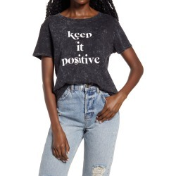 Women's Sub Urban Riot Keep It Positive Mineral Wash Graphic Tee, Size X-Small - Black found on Bargain Bro from Nordstrom for USD $29.64