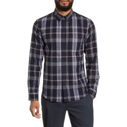 Men's Club Monaco Slim Fit Plaid Flannel Button-Down Shirt, Size Medium - Blue found on Bargain Bro Philippines from Nordstrom for $49.25