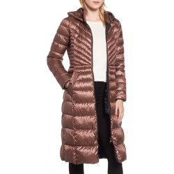 Women's Bernardo Lust Long Puffer Coat, Size Medium - Orange