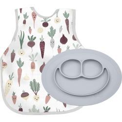 Infant Ezpz Root Veggies Bib Apron & Mini Silicone Feeding Mat, Size One Size - Grey