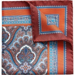 Men's Eton Paisley Silk Pocket Square, Size One Size - Orange found on Bargain Bro Philippines from Nordstrom for $65.00