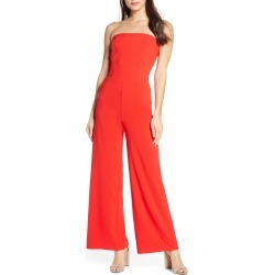 Women's Fraiche By J Strapless Wide Leg Jumpsuit, Size Small - Red
