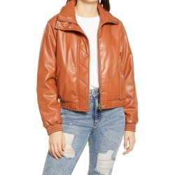 Women's Blanknyc Crop Faux Leather Bomber Jacket, Size Medium - Brown found on Bargain Bro from Nordstrom for USD $37.24