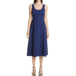 Women's Adam Lippes Bonded Neopene Fit & Flare Midi Dress, Size 20 - Blue found on MODAPINS from Nordstrom for USD $990.00