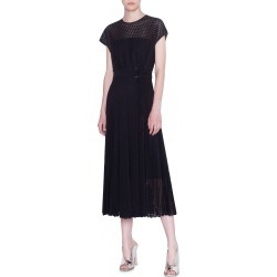 Women's Akris Punto Signature Punto Lace Midi Dress, Size 14 - Black found on MODAPINS from Nordstrom for USD $894.00