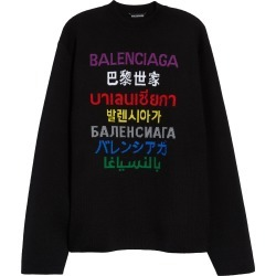 Men's Balenciaga Multicolor Multilingual Logo Intarsia Sweater, Size Large - Black found on MODAPINS from Nordstrom for USD $1090.00