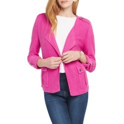 Petite Women's Nic+Zoe In Flight Linen Blend Knit Jacket, Size Petite P - Purple found on Bargain Bro from Nordstrom for USD $67.49