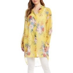Women's Karen Kane Floral Print Long Button-Up Shirt, Size Small - Yellow found on Bargain Bro India from Nordstrom for $148.00