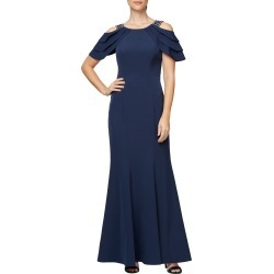 Women's Alex Evenings Beaded Cold Shoulder Trumpet Gown, Size 4 - Blue found on Bargain Bro from Nordstrom for USD $189.24