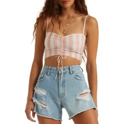 Women's Billabong Beaud Up Ruched Crop Tank, Size Medium - Coral found on MODAPINS from Nordstrom for USD $39.95