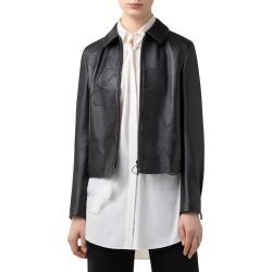 Women's Akris Punto Magnolia Applique Leather Jacket, Size 10 - Black found on Bargain Bro from Nordstrom for USD $1,892.40